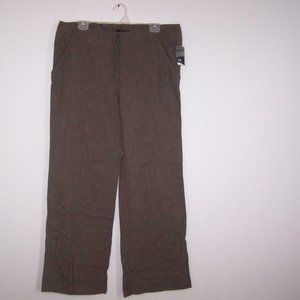 Mossimo Wide Leg Pants 14 Linen Cotton Brown Striped Pockets Womens NEW